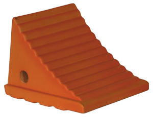 "Flourescent Orange Poly Wheel Chock, 7.38"" W x 8.31""L x 6.25""T"