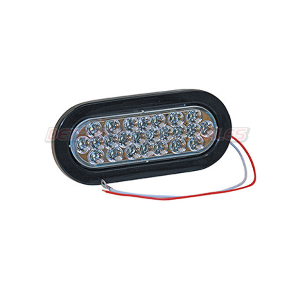 "6-1/2"" Oval Backup Light, 24 LED Clear w/ Grommet & Plug"