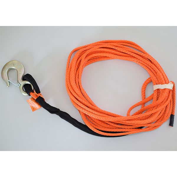 Synthetic Winch Rope 3/8 100ft Fixed hook